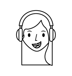 Young woman avatar character with headphone vector