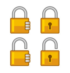 Lock icons set flat style vector