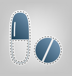 Medical pills sign  blue icon with outline vector