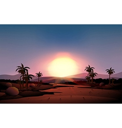 A view of the desert during sunset vector