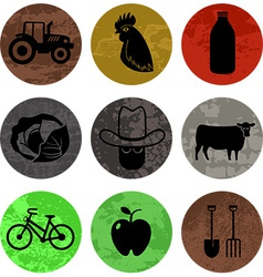 Farming and agriculture icons in color part 1 vector