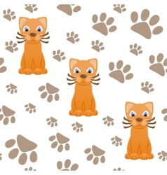 Seamless pattern with cartoon cat and paws vector
