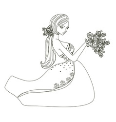 Beautiful bride - doodle vector