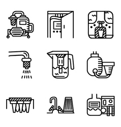 Black line icons for water filters vector