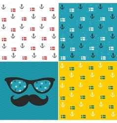 Set of seamless patterns with anchors and national vector