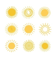 Different hand drawn suns vector