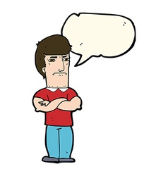 Cartoon annoyed man with folded arms with speech vector