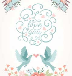 Cute wedding invitation with flowers love birds vector