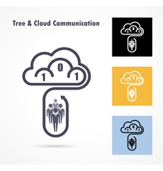 Tree and cloud logo design template vector