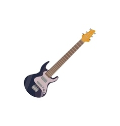 Black electric guitar icon cartoon style vector