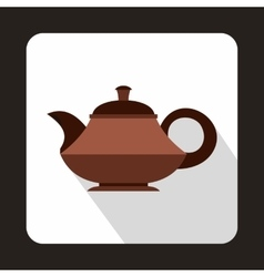 Brown teapot icon in flat style vector