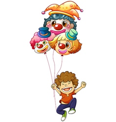 A happy boy with three clown balloons vector image vector image