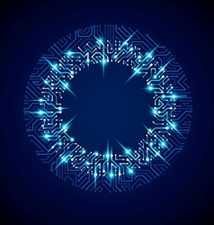 Abstract luminescent technology round blue vector