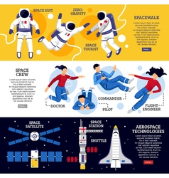 Astronauts horizontal banners vector
