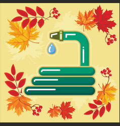 autumn agricultural icons with autumn leaves 8 vector image