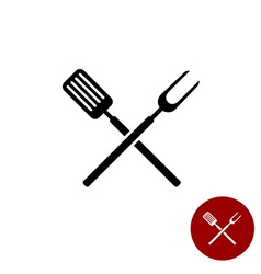 BBQ barbeque tools crossed black simple silhouette vector image vector image