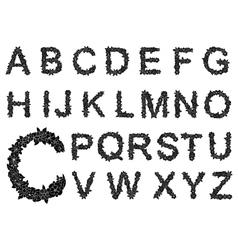 Black floral alphabet letters set vector image vector image