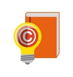 Book and bulb icon copyright design vector