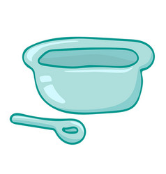 Bowl and spoon isolated vector