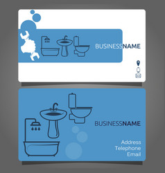 business card for plumbing services vector image vector image