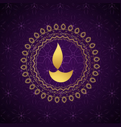 decorative golden diwali diya background vector image