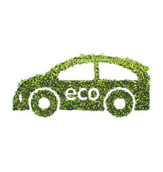eco car concept with recycle icon of leaf vector image vector image
