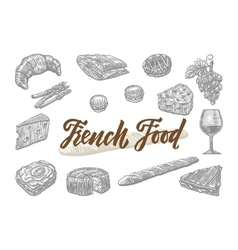 Engraved French Food Elements Set vector image vector image
