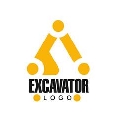 Excavator logo design backhoe service black and vector