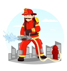Firefighter in uniform spraying water with hose vector