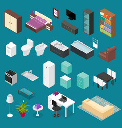 Furniture element set isometric view vector