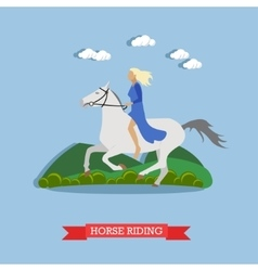 Girl riding a horse flat design vector