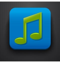 Green music symbol icon on blue vector image