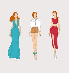 Hand drawn fashion models vector image vector image