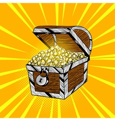 Hand drawn pop art of wooden chest with gold coins vector