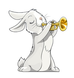 hare playing trumpet vector image vector image