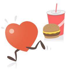 heart running away from junk food vector image