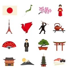 Japan Culture Flat Icons Set vector image