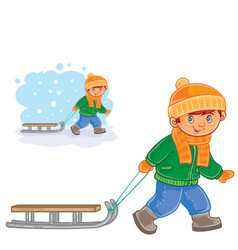 little boy pulling a sledge behind him vector image vector image