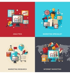 Marketing flat icons vector