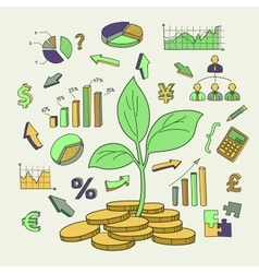 Money tree sprout and financial symbols vector image