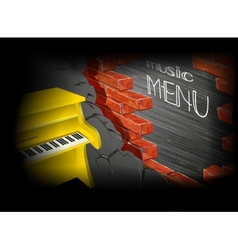 Music menu yellow piano vector