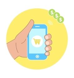 Online shopping concept with hand holding vector image