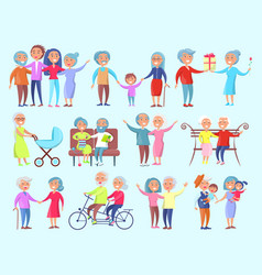 people of different age isolated vector image