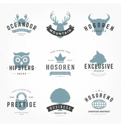Retro vintage logotypes or insignias hand drawn vector