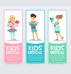 set of banners with cheerful teens holding books vector image