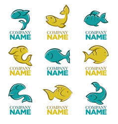 Set of fish logo icons signs symbols and vector