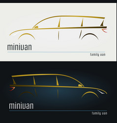 Set of modern minivan silhouettes vector