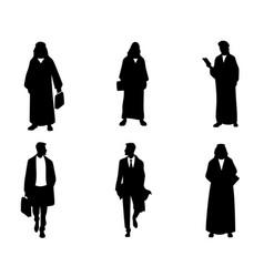 Silhouettes of arab businessmen vector