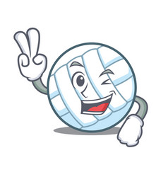 Two finger volley ball character cartoon vector