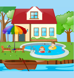 Two kids having fun in the pool vector